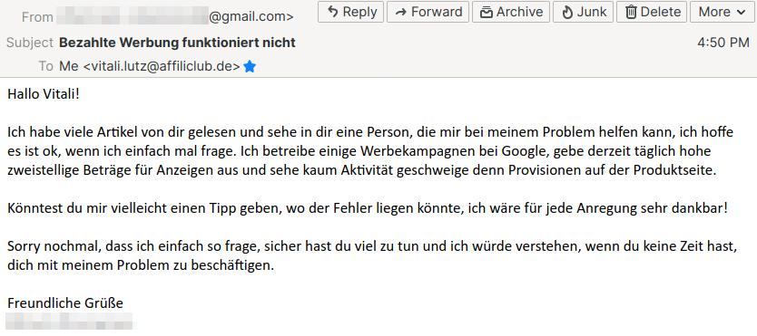 E-Mail Problem mit Werbung